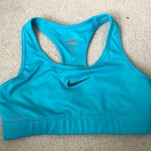 Teal/light blue sports bra